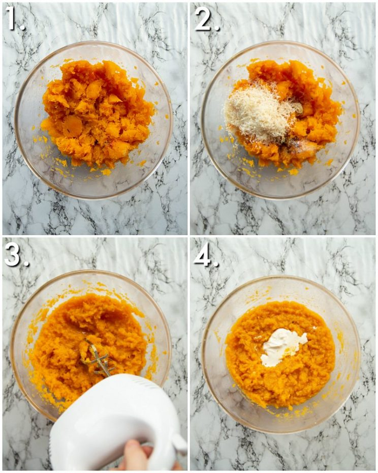 4 step by step photos showing how to make butternut squash mash