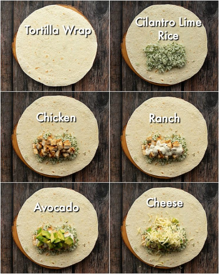 6 step by step photos showing how to make chicken avocado burritos