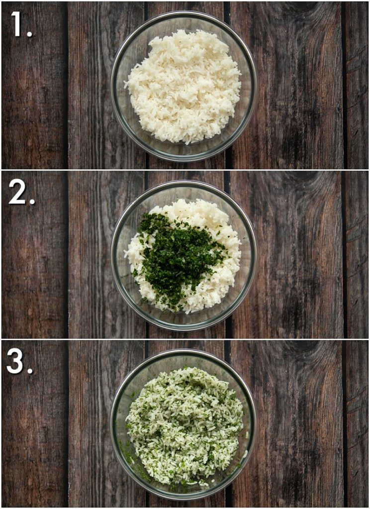 3 step by step photos showing how to make cilantro lime rice