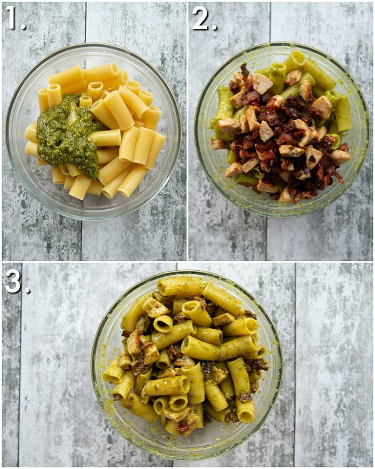 3 step by step photos showing how to make leftover turkey pasta