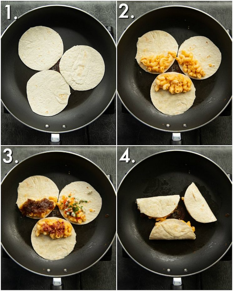4 step by step photos showing how to make mac and cheese quesadillas