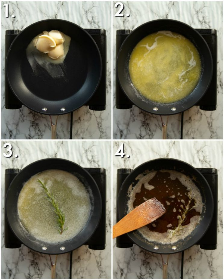 4 step by step photos showing how to make rosemary browned butter