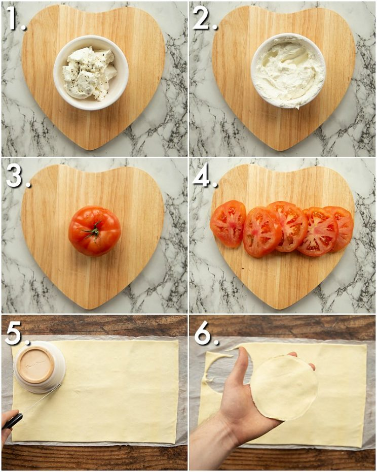 how to prep cheese and tomato tarts - 6 step by step photos