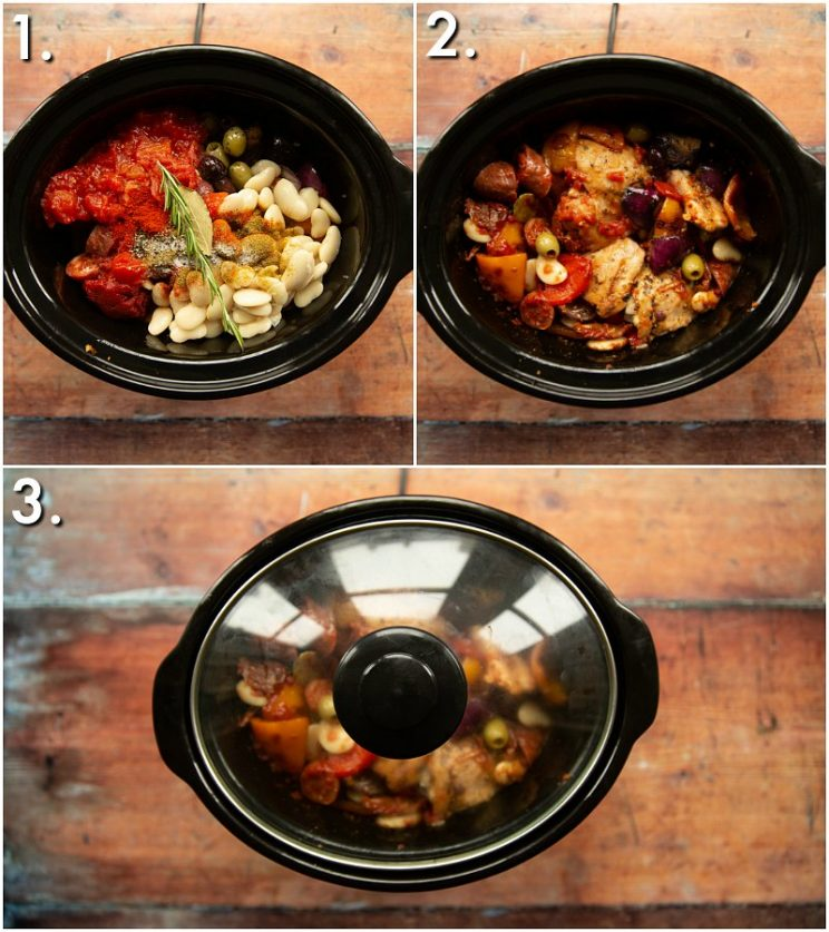 3 step by step photos showing how to slow cook chicken and chorizo