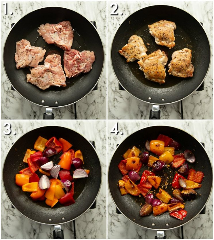 4 step by step photos showing how to pan fry chicken and veg