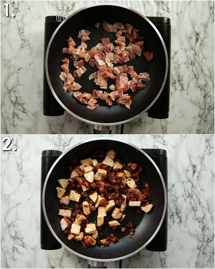 2 step by step photos showing how to fry turkey, bacon and sun dried tomatoes