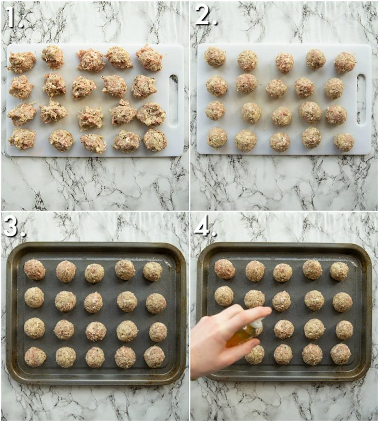 4 step by step photos showing how to cook sausage stuffing balls