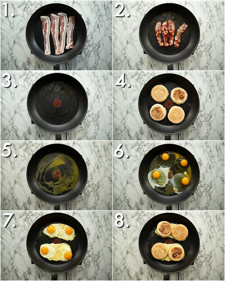 8 step by step photos showing how to make a breakfast sandwich