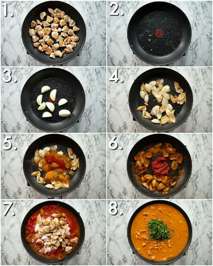 8 step by step photos showing how to make curry in a hurry
