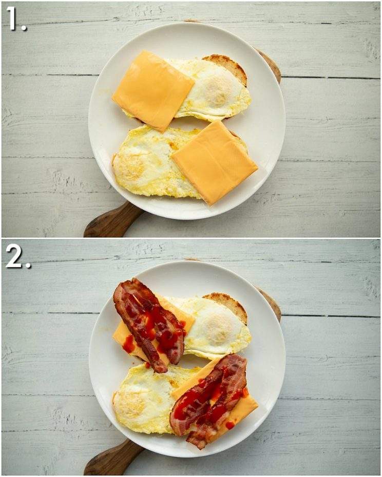 2 step by step photos showing how to make an English muffin breakfast sandwich