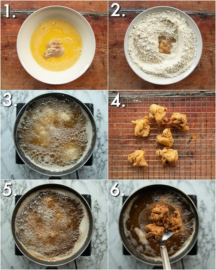 6 step by step photos showing how to make Japanese fried chicken