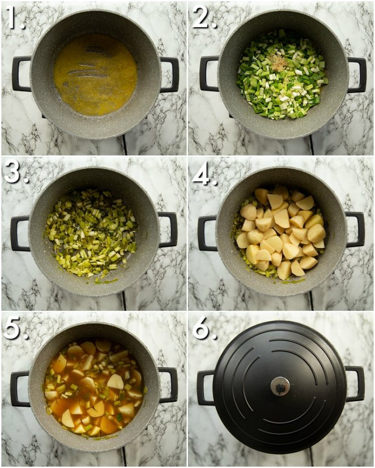 6 step by step photos showing how to make spring onion potato soup