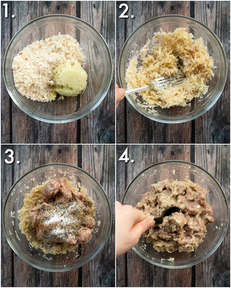 4 step by step photos showing how to make sausage stuffing balls