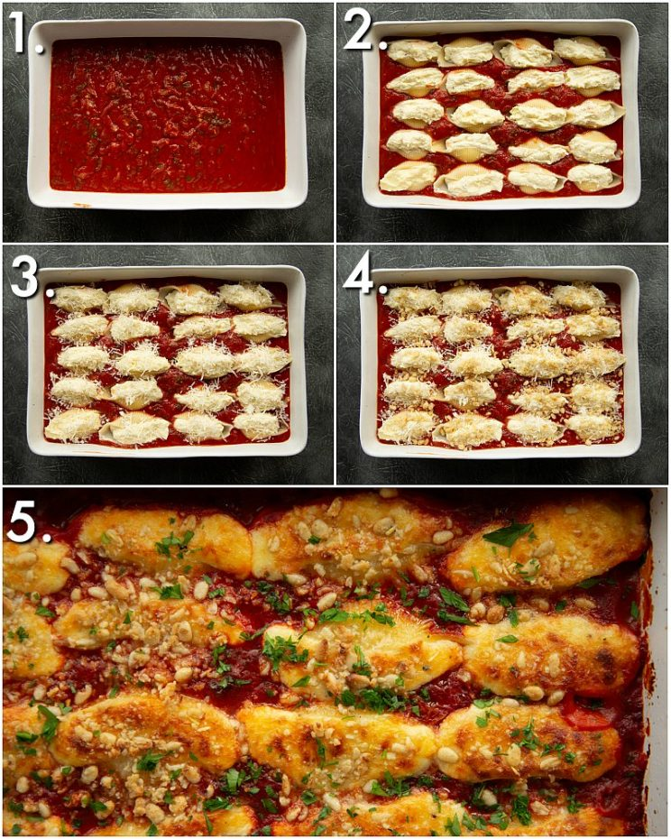 5 step by step photos showing how to make stuffed pasta shells