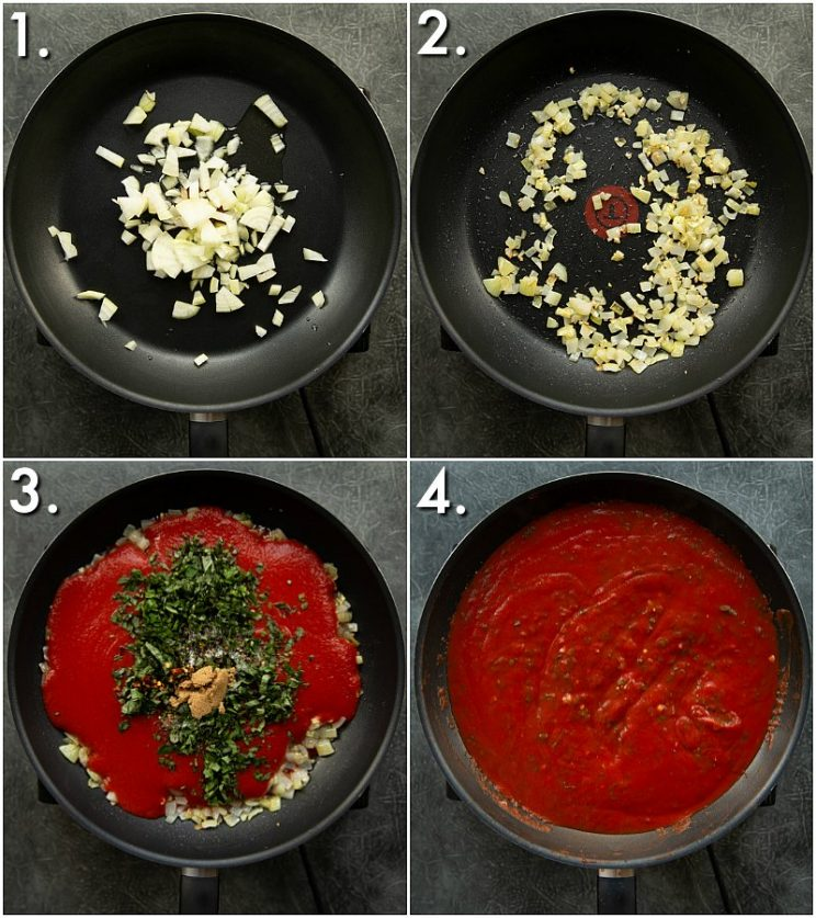 4 step by step photos showing how to make tomato basil pasta sauce