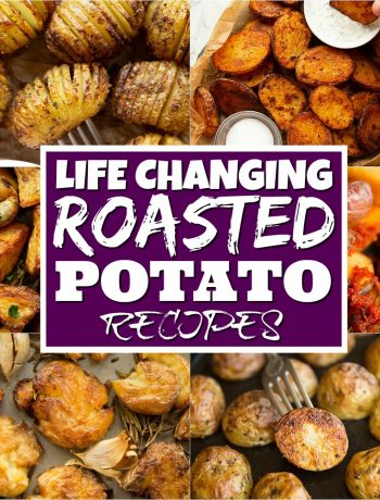 roasted potato collage with text overlay