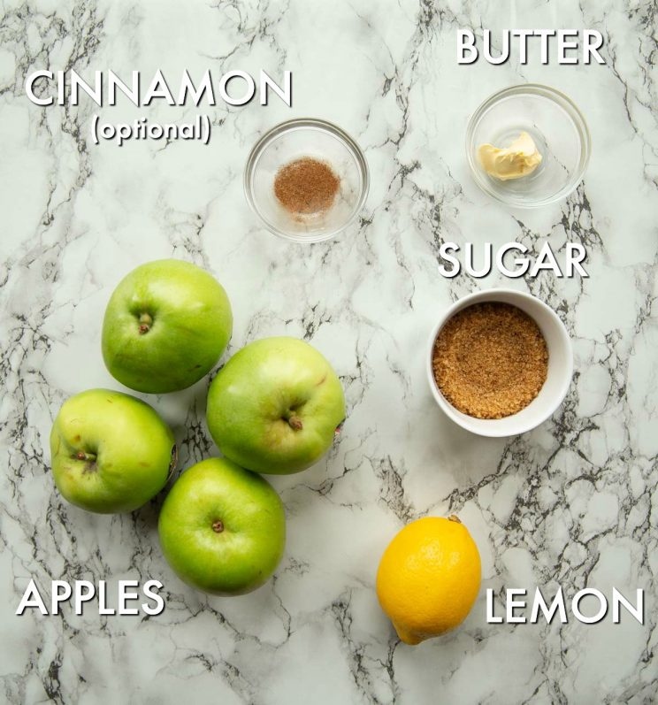 overhead shot of apple sauce ingredients with text labels