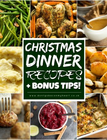 collage of christmas dinner recipes with text overlay