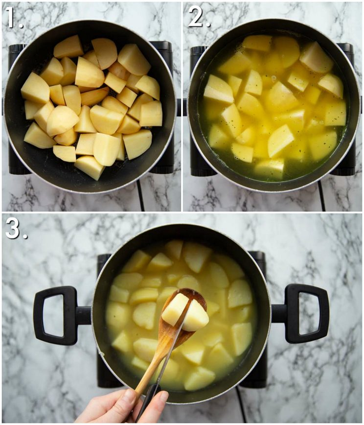 3 step by step photos showing how to boil mashed potatoes in chicken stock