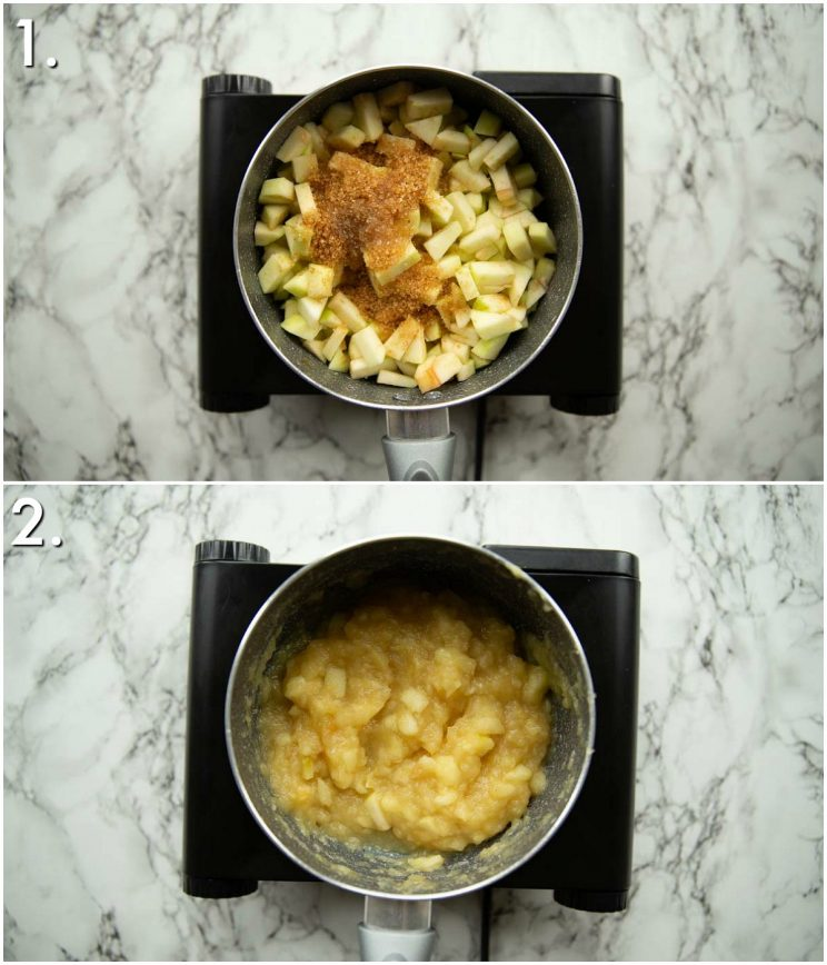 2 step by step photos showing how to make apple sauce
