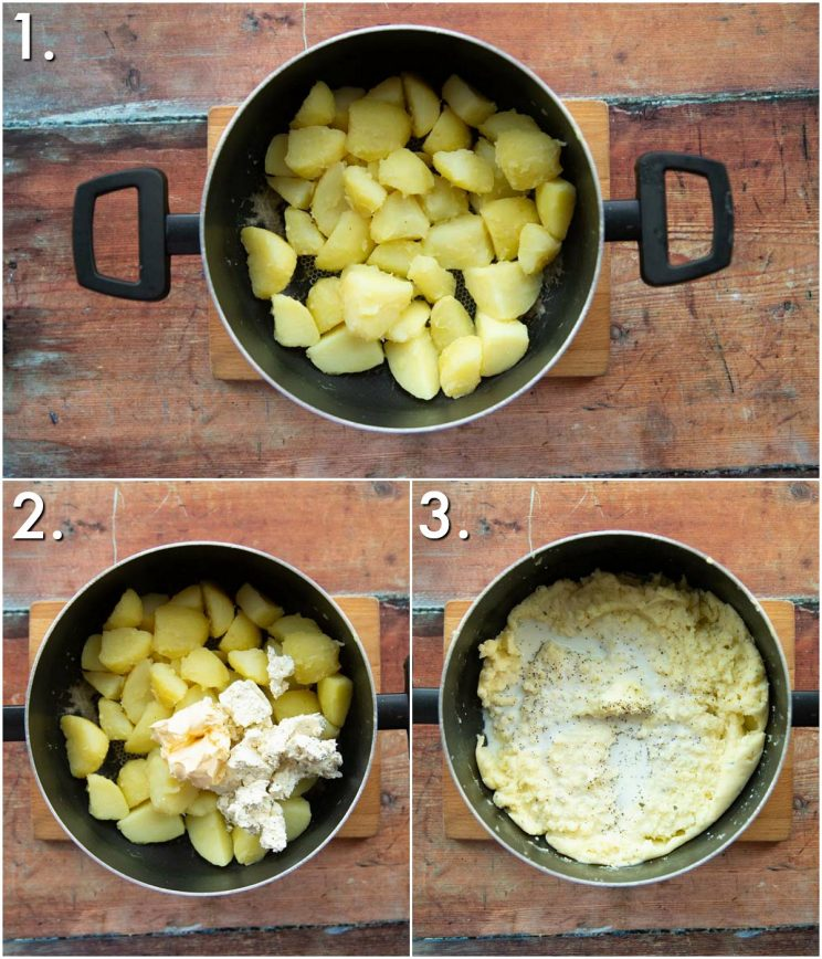 3 step by step photos showing how to make boursin mashed potatoes
