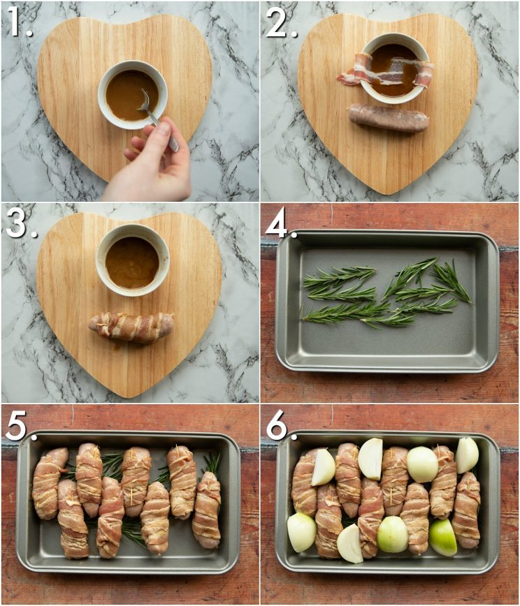 6 step by step photos showing how to make sausages wrapped in bacon