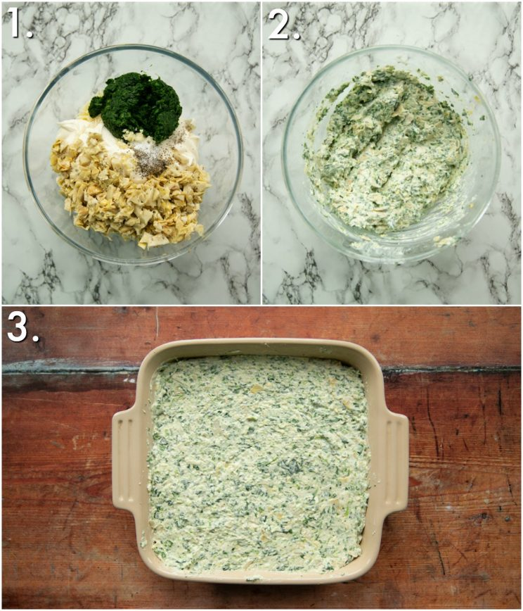 3 step by step photos showing how to make spinach artichoke dip