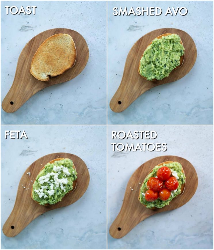 3 step by step photos showing how to make tomato avocado toast