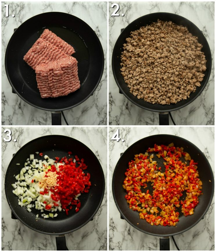 4 step by step photos showing how to prep slow cooker turkey chili