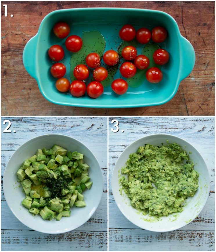 3 step by step photos showing how to prep tomato avocado on toast