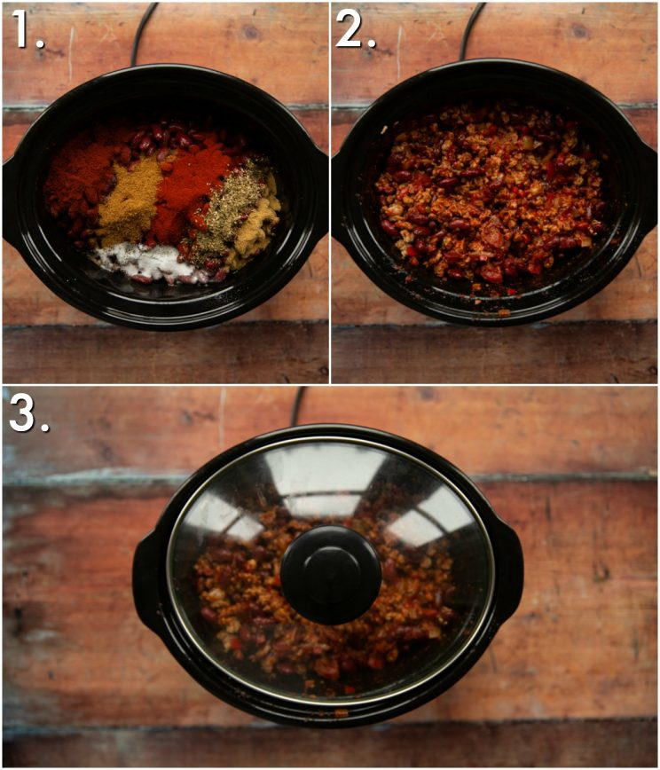 3 step by step photos showing how to slow cook turkey chili