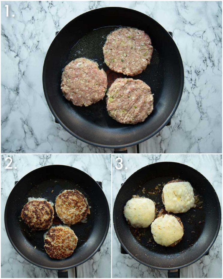 3 step by step photos showing how to cook pork and apple burgers