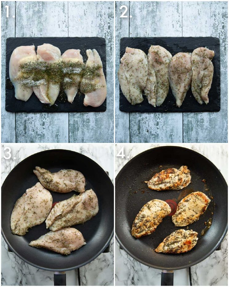 4 step by step photos showing how to fry chicken breasts