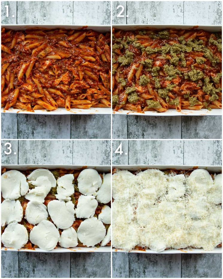 4 step by step photos showing how to make chicken pasta bake