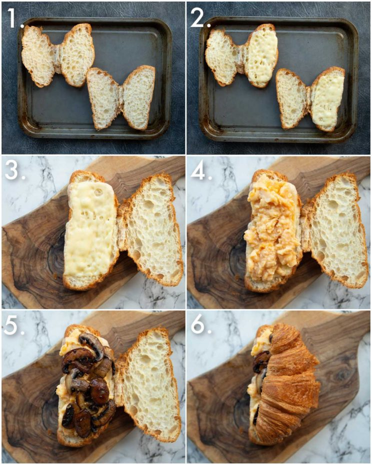 6 step by step photos showing how to make breakfast croissants