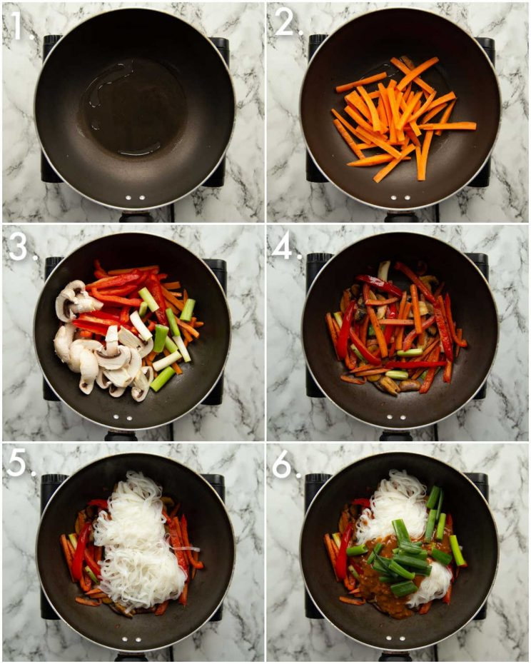6 step by step photos showing how to make peanut stir fry