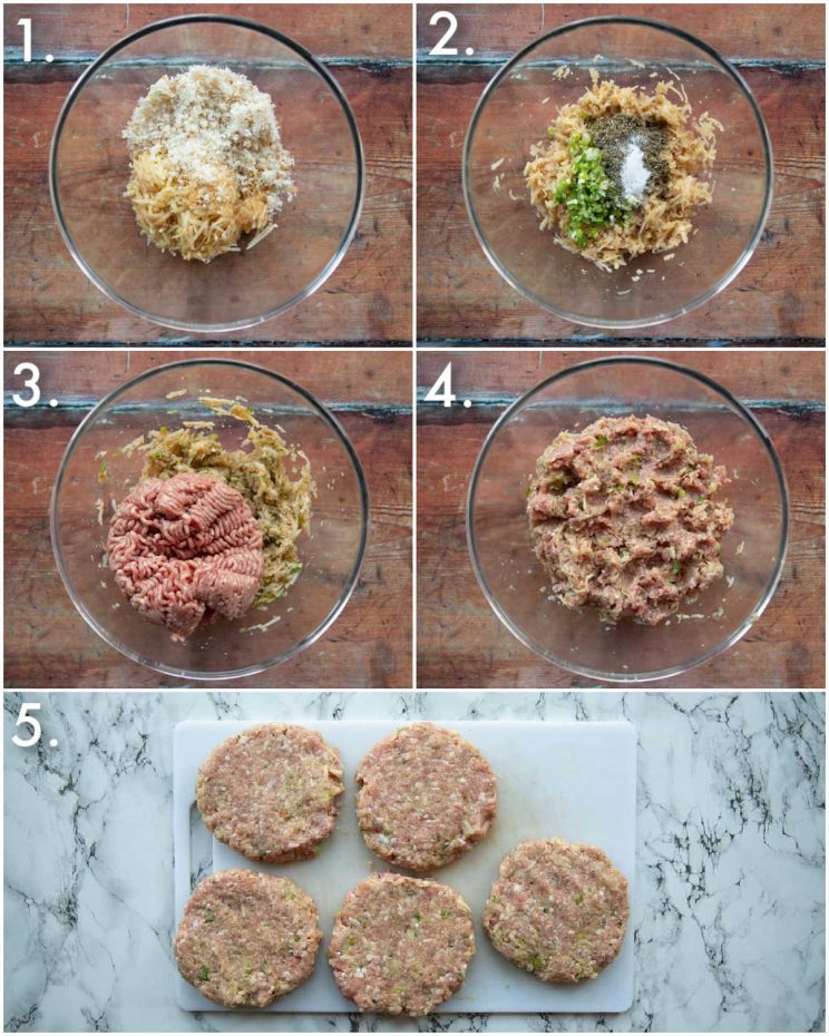 5 step by step photos showing how to make pork and apple burgers