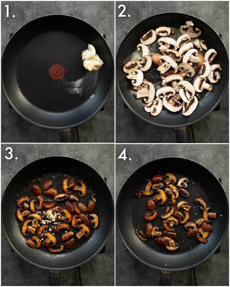 4 step by step photos showing how to pan fry mushrooms