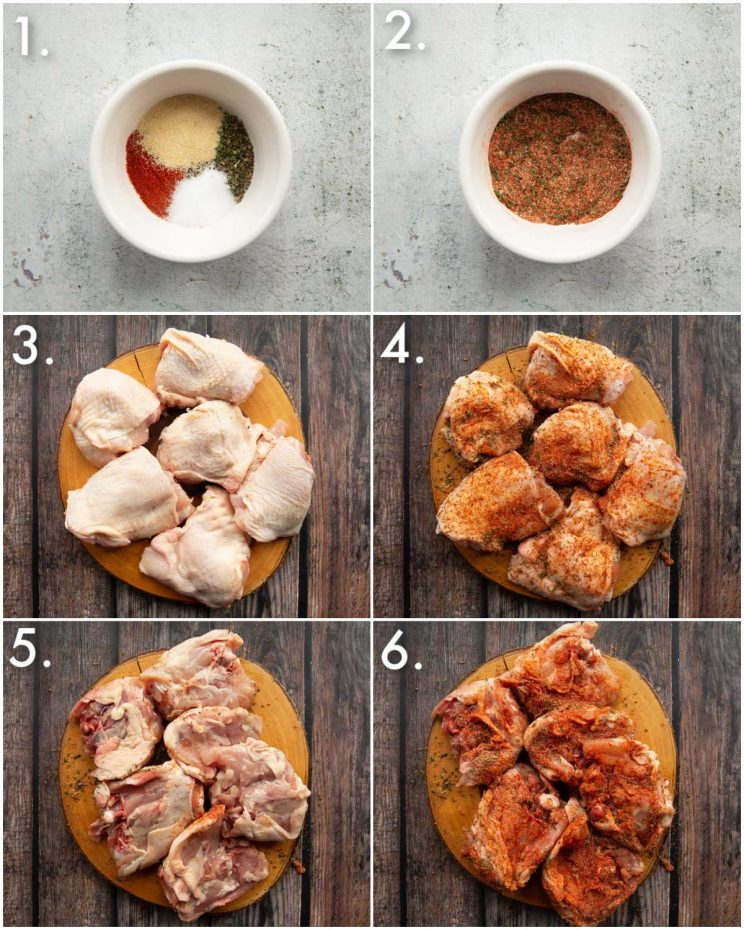 6 step by step photos showing how to season tomato basil chicken