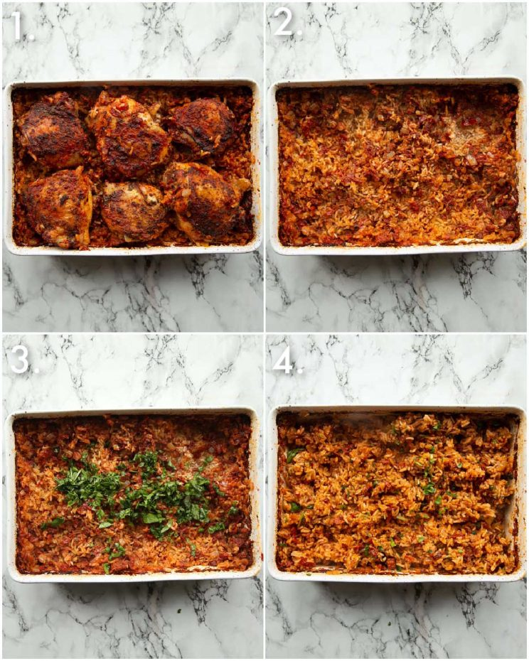 4 step by step photos showing how to serve chicken and rice