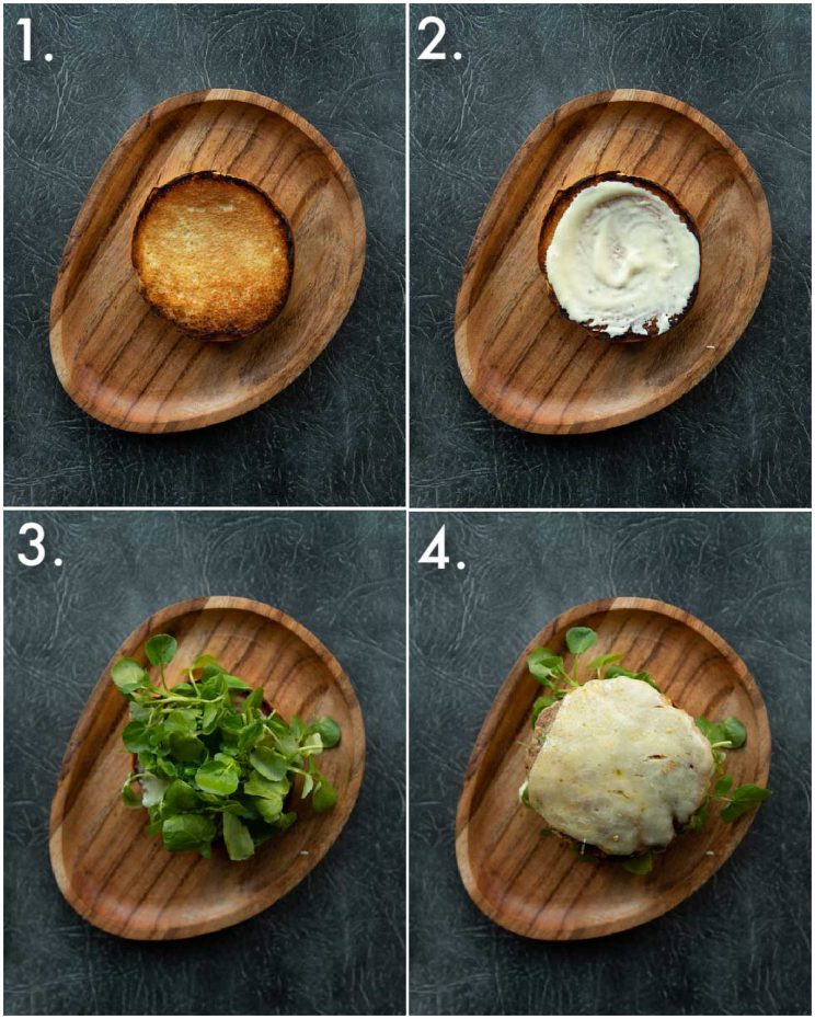 4 step by step photos showing pork and apple burger fillings