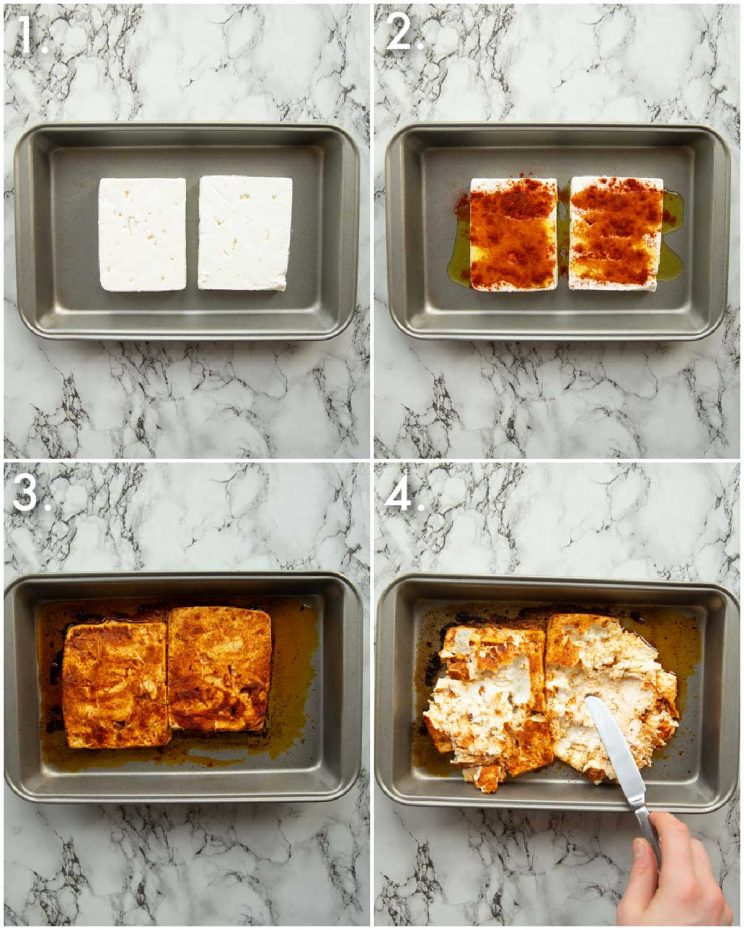 4 step by step photos showing how to bake feta