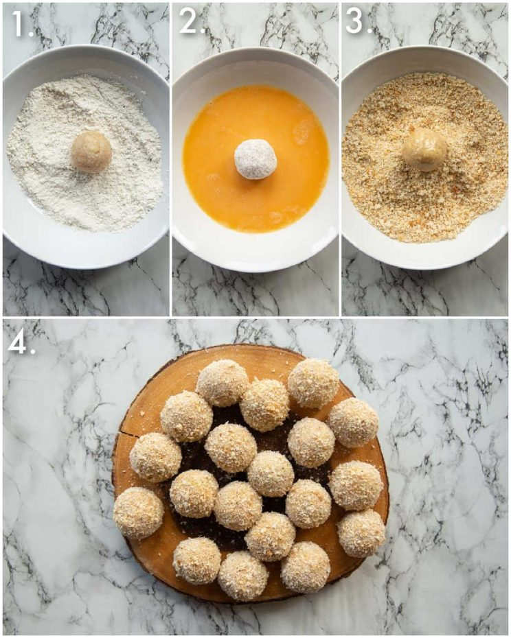 4 step by step photos showing how to coat mini chicken kievs