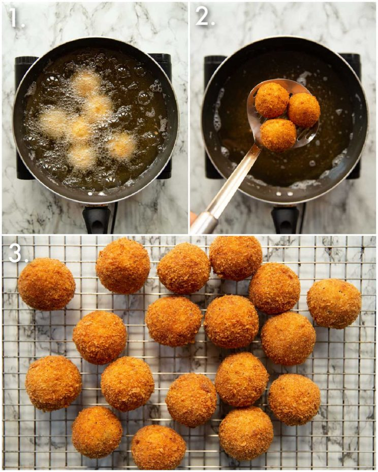 3 step by step photos showing how to cook mini chicken kievs