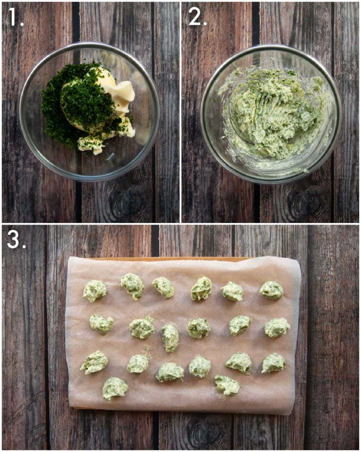 3 step by step photos showing how to freeze garlic butter