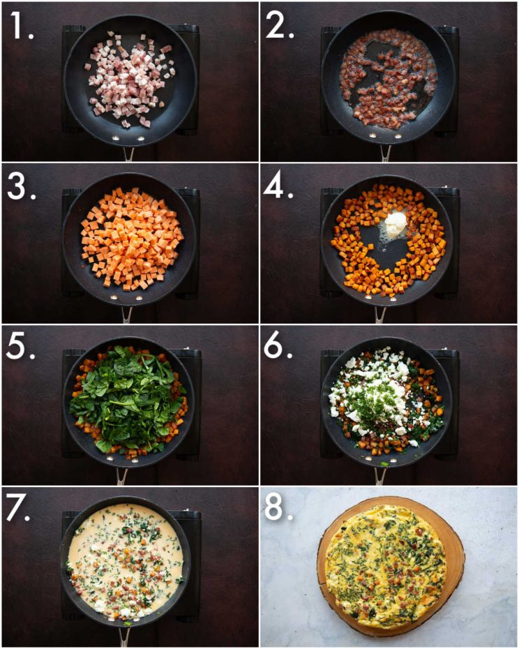 8 step by step photos showing how to make a sweet potato frittata