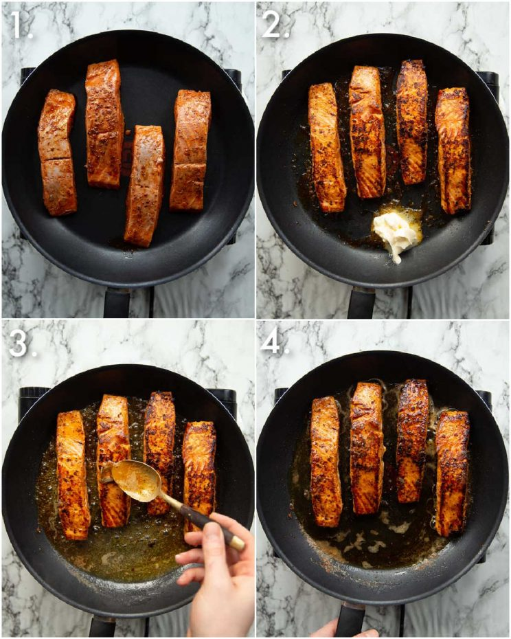 4 step by step photos showing how to make cajun salmon