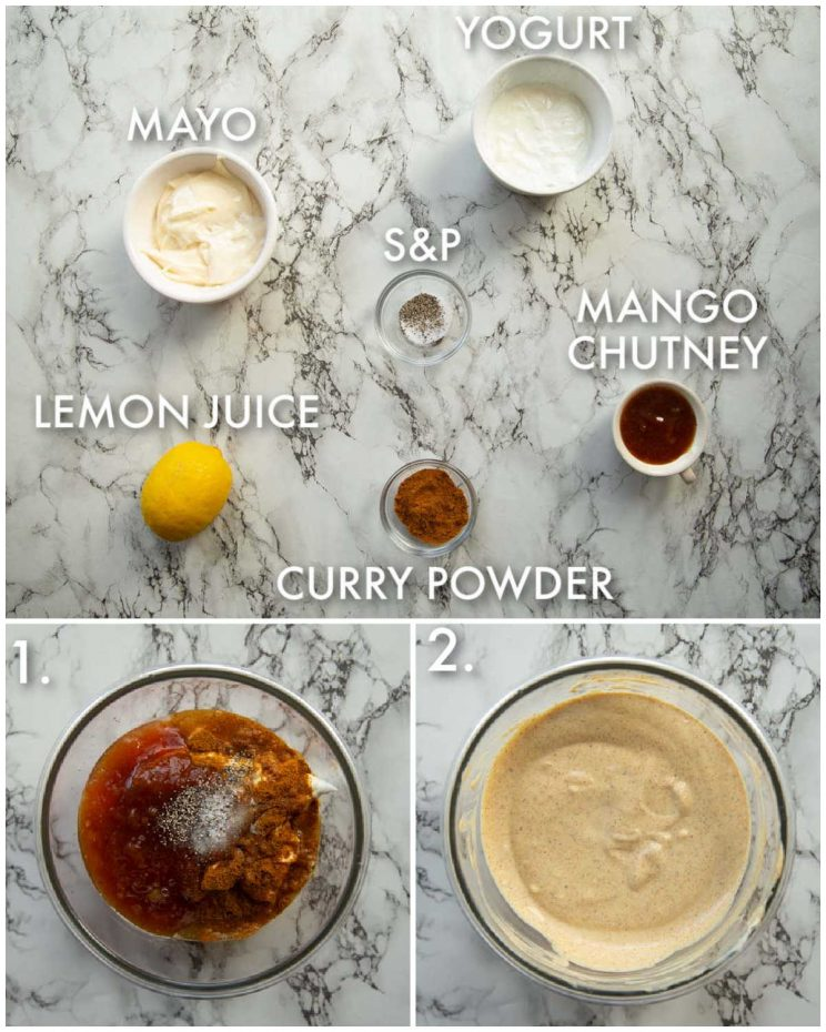 3 step by step photos showing how to make coronation chicken sauce