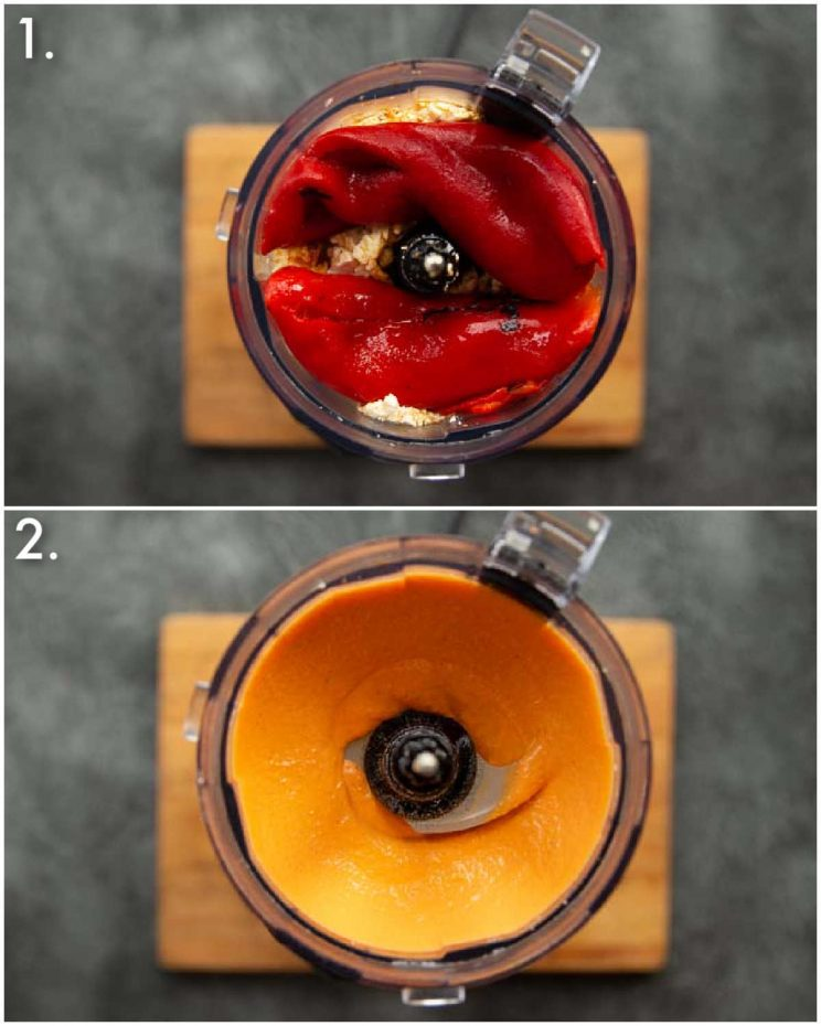 2 step by step photos showing how to make feta roasted red pepper dip