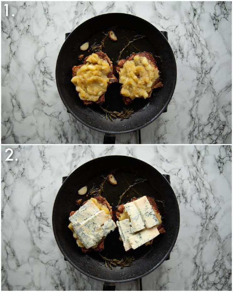 2 step by step photos showing how to make pork chops and apple sauce